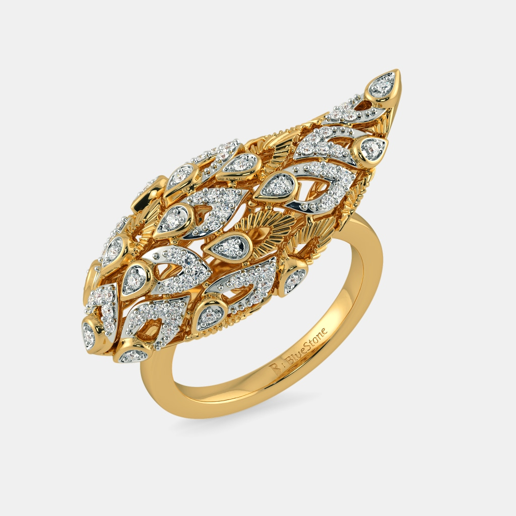 diamond rings unique statement pin gold ring style round center white engagement halo cut