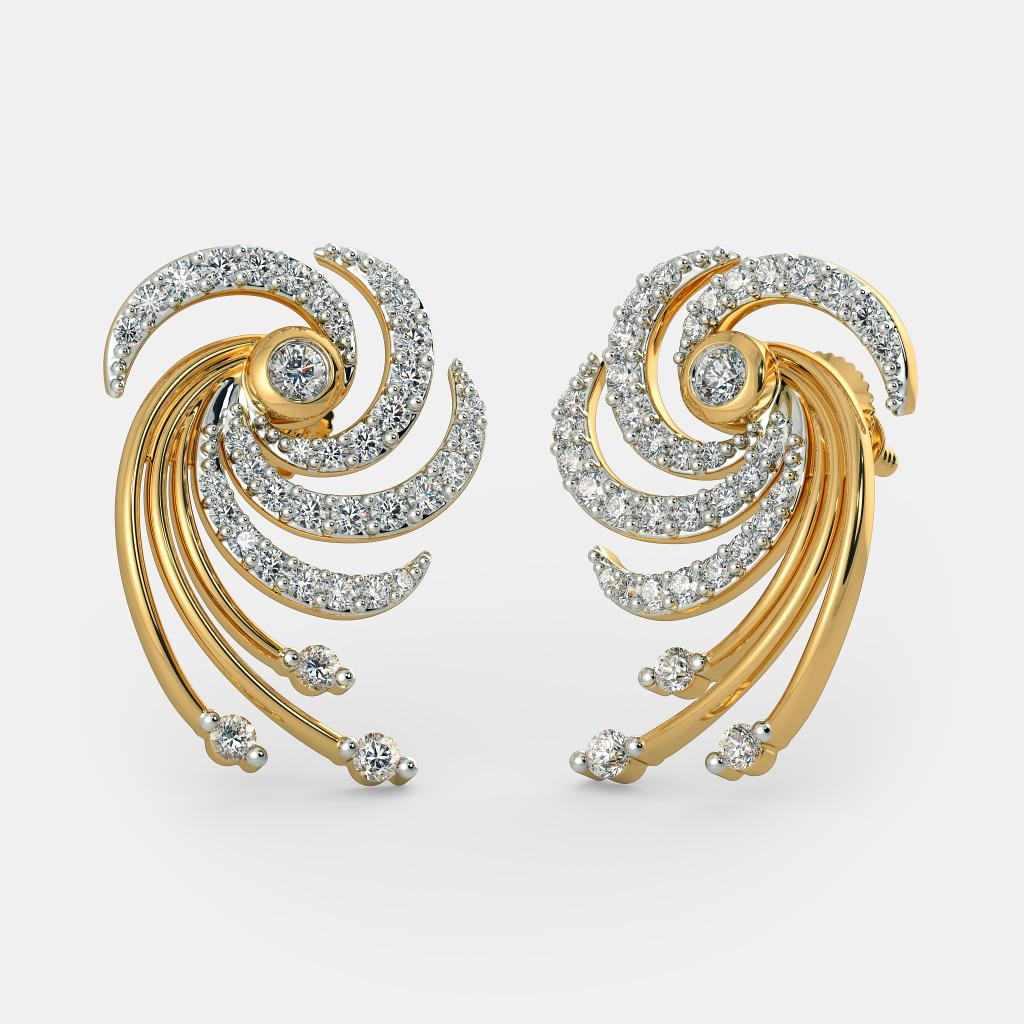 Gold Earrings With Blue Stone Best Earring 2017 Source · The Dhiya Earrings