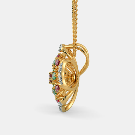 Diamond , Emerald And Ruby Pendant In Yellow Gold (3 Gram) With Diamonds (0.090 Ct)