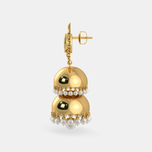 Emerald And White Pearl Earring In Yellow Gold (17.29 Gram)