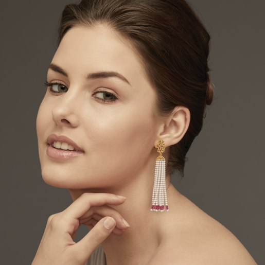 Ruby And Tassel1 Earring In Yellow Gold (8.62 Gram)
