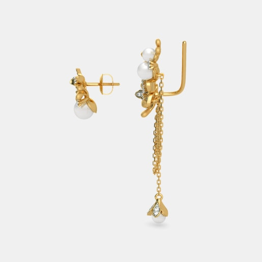 Diamond And White Pearl Earring In Yellow Gold (6.54 Gram) With Diamonds (0.435 Ct)