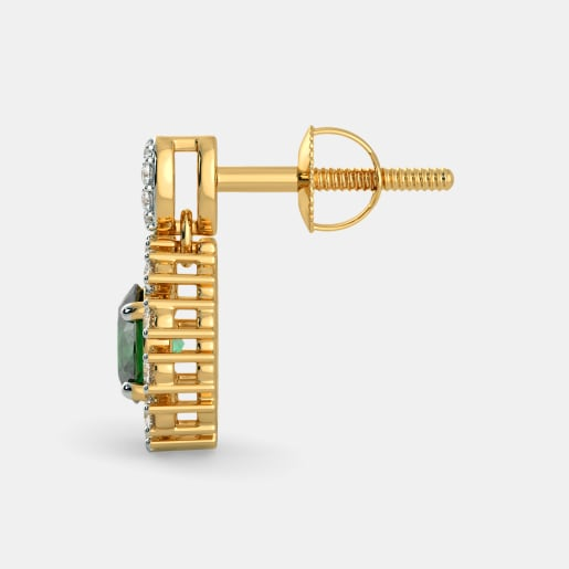 Diamond And Emerald Earring In Yellow Gold (2.79 Gram) With Diamonds (0.324 Ct)