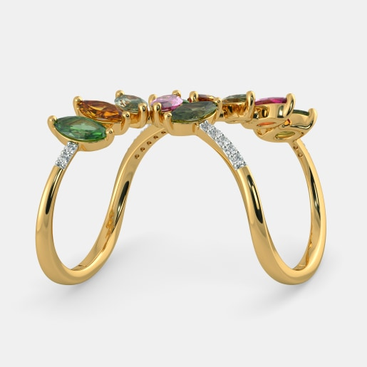 Diamond And Multi Color Tourmaline Ring In Yellow Gold (7 Gram)