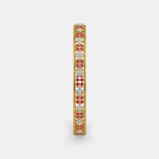 Diamond And Ruby Bangle In Yellow Gold (20.53 Gram) With Diamonds (1.600 Ct)