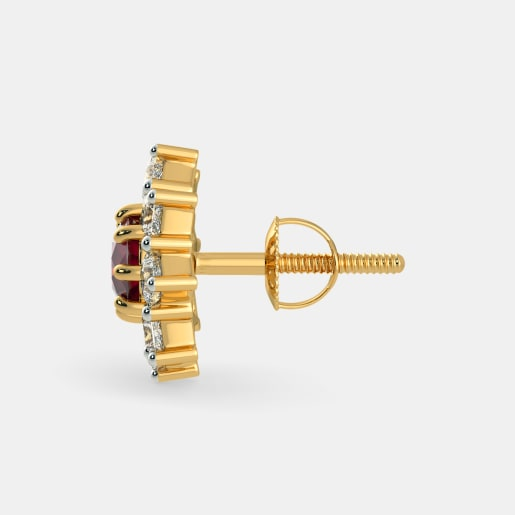 Diamond And Ruby Earring In Yellow Gold (2.61 Gram) With Diamonds (0.928 Ct)