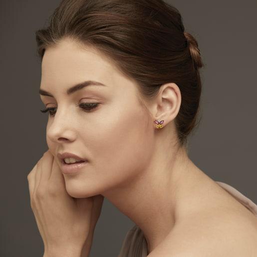 Diamond , Ruby And Yellow Sapphire Earring In Yellow Gold (3.45 Gram) With Diamonds (0.180 Ct)