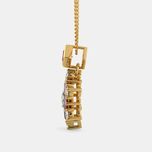 Diamond And Ruby Pendant In Yellow Gold (1.88 Gram) With Diamonds (0.424 Ct)