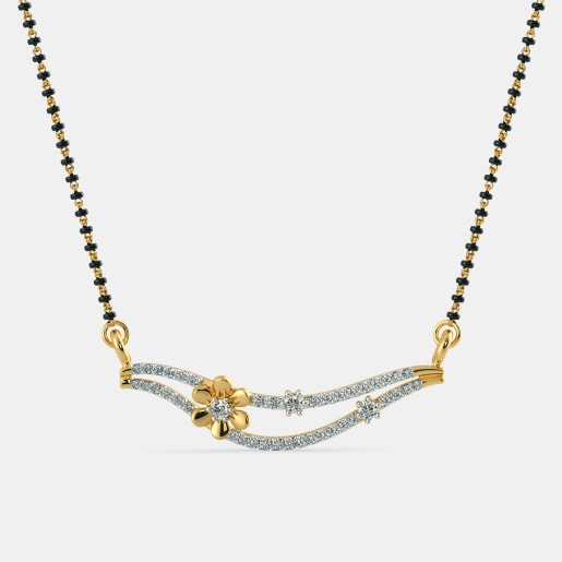 Diamond Mangalsutra In Yellow Gold (1.34 Gram)