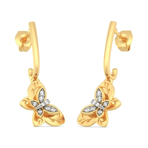 Buy Gold Butterfly Earring Designs line in India 2018