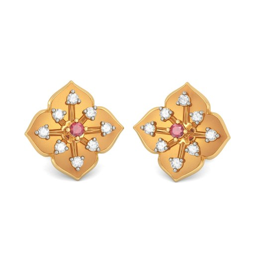 Diamond And Ruby Earring In Yellow Gold (5.17 Gram) With Diamonds (0.240 Ct)
