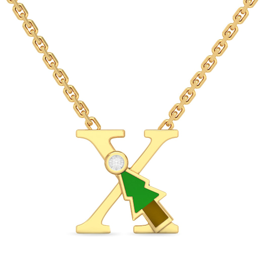 X for X-mas Tree Necklace for Kids