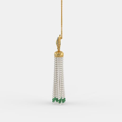 Diamond , Emerald And Tassel Necklace In Yellow Gold (9.04 Gram)